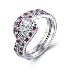 Luxury Women's Rings Sets Solid Sterling Silver Pink CZ Engagement Wedding Party