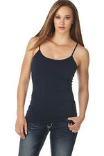 Cowgirl Up Womens Navy Cotton Blend Cami Tank Top Satin Trimmed
