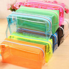 S/L Size Pencil Pen Case Cosmetic Bag Clear Makeup Pouch Zipper Toiletry Holder
