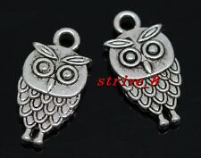 Lots 60/300pcs Tibetan Silver Lovely owl Alloy Jewelry Charms Pendant 18x9mm