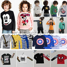 NEW Kids Baby Boys Girls Long Sleeve T-shirt Pullover Top Casual Sweatshirt 1-8Y