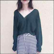 Lady Knitwear Knit Deep V Neck Loose Sweater Jumper Blouse Top Pullover Casual