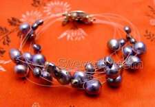 "SALE 4-9mm BAROQUE Natural Freshwater Black Pearl 7.5"" Starriness Bracelet-br347"