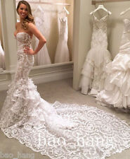 Mermaid Backless Wedding Bridal Gowns Dresses White Lace Sweetheart Custom Size