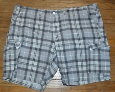 Urban Pipeline Classic Length Cargo Shorts Size 50 Gray Plaid
