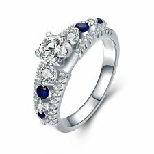 925 Sterling Silver CZ Sapphire Rings Accessories wedding Party Simple Fashion