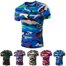 Fashion Mens Crew Neck Camouflage Casual T-Shirt Short Sleeve Slim Fit Tops New