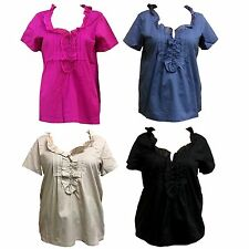 New Fashion Lady's  Woven Top w Frill & Pintucks Summer Short Sleeves Blowse Top