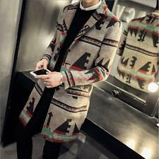 Mens Stylish Slim fit Wool Blend Long Trench Floral pattern Lapel Leisure Coat