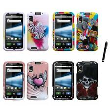 For Motorola Atrix 4G Design Snap-On Hard Case Phone Cover Stylus Pen