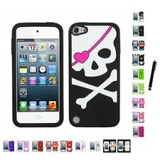 For Apple iPod Touch 5th 6th Gen Silicone Design Skin Soft Phone Case Stylus Pen