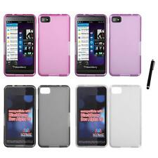 For BlackBerry Z10 TPU Rubber Skin Flexible Case Phone Cover Stylus Pen