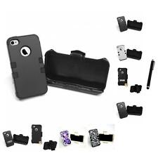 For Apple iPhone 4/4S Hybrid TUFF IMPACT Holster Clip Hard Case Cover Stylus Pen