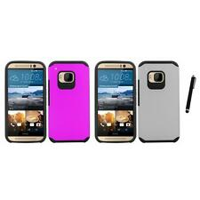 For HTC One M9 Slim-Grip Shockproof 2-Piece Hard Case Cover Stylus Pen