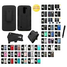 For LG Tribute 5 K7 Hybrid IMPACT Hard TUFF Hybrid Case Phone Cover Stylus Pen
