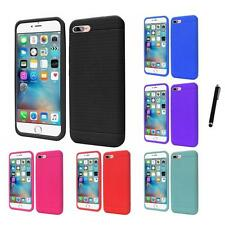 For Apple iPhone 7 Rugged Thick Silicone Grip Soft Skin Case Cover Stylus Pen