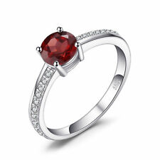 Fashion 1.3ct Natural Red Garnet White Topaz Engagement Ring 925 Sterling Silver