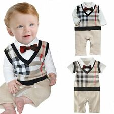 Baby Toddler Boy Wedding Tuxedo Formal Check Suit One Piece Outfit Clothes 3-18M
