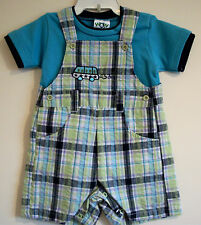6m 12m 24m Baby Boy Dungarees T-Shirt Shorts Blue Cotton Summer Check Outfit
