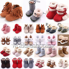 0-18M Toddler Baby Girls Boys Snow Boots Prewalkers Crib Shoes Fleece Lined Flat