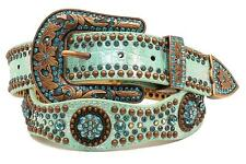 Nocona Western Womens Belt Leather Scalloped Studded Conchos Light Blue N3498313