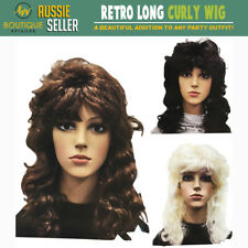 RETRO WIG Curly Long Hair Disco Punk Rock Party Costume 60s 70s 22425 New