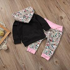 Baby Girl 2pcs Set Outfit Hoodie with Pocket Top Sweatshirt + Floral Long Pants