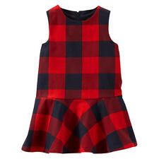 baby B'gosh Girls Red/Black Plaid Dress with Diaper Cover