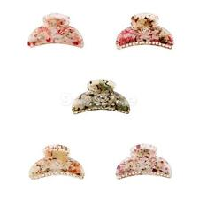 Ladies Colorful Cute Floral Print Jaw Gripper Claw Hair Clip Hair Accessory