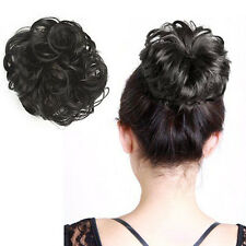 Women Lady Synthetic Fiber Pony Tail Hair Wig Bun Scrunchie Hairpiece Extention