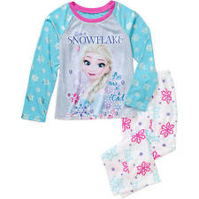 Girls Pajama Set Disney Frozen Long Sleeve Shirt Pants Sleepwear Kids Flannel