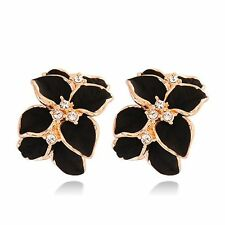 Gardenia Flower Lovely Crystal Gardenia Flower Ear Stud Earrings With Buckle