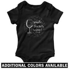Smile There's Wine One Piece - Baby Infant Creeper Romper NB-24M - Gift Funny