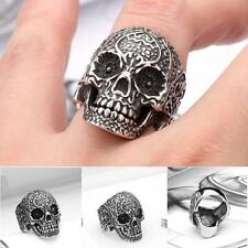Stylish Biker Jewelry 7-13 316l Steel Stainless Punk Floral Fashion Skull Ring