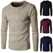 Stylish Mens Slim Casual Knitted Sweaters Winter Pullover Crew Neck Jumpers Tops