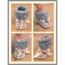 Hand Knitted / Crochet Fluffy Baby Boots / Booties / Shoes / Pram Shoes