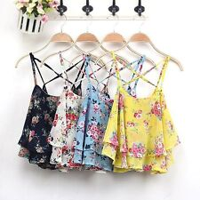 Sexy Women Summer Floral Vest Top Sleeveless Girls Tank Blouse Beach Tee Shirt