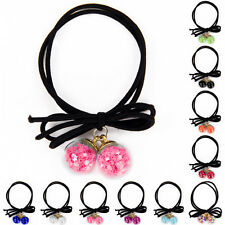 Girl's Double Ball Ponytail Rubber Band Holder Ribbon Bow Hair Rope Stretch Hot