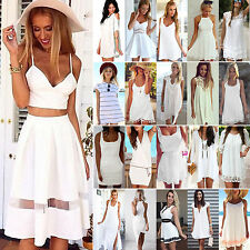 Womens White Mini Dress Tunic Casual Evening Party Coacktail Summer Sundress New