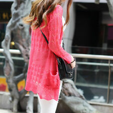 Women Long Casual Knit Knitwear Sweater Outwear Coat Sleeve Cardigan Hollow top