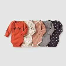 Baby Boys Pack Of 5 Long-Sleeved Bodysuits, 0 Months-3 Yrs