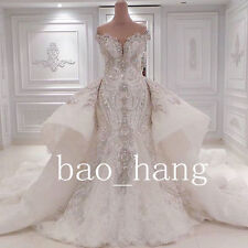 Gorgeous Wedding Dress Mermaid Detachable Long Train Lace Bridal Gowns Cathedral