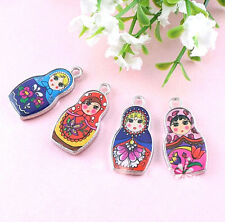 Hot Sale 5Pcs Two-Sided Mixed Color Enamel Russian Doll Charm Pendant 4 Style