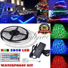 5/10M RGB 5050 SMD 150/300 Leds Strip LED Flexible Light 12V Remote Power Supply