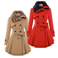 Women Coat Jacket Slim Warm Faux Fur Parka Double-breasted Long Outwear Overcoat