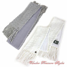 ADIDAS Knit Scarf Knitted Scarf Fleece Braid pattern White Grey Fringes soft
