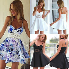 Womens Summer Tea Dress Strappy Casual Party Cocktail Short Mini Dress Sundresss