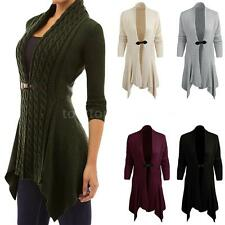 Women Knit Cardigan Sweater Long Sleeve Jacket Coat Irregular Hem Outerwear X2K3