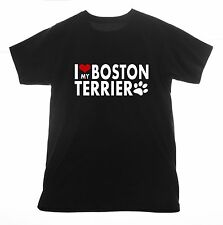 Boston Terrier t shirt I love Clothing Tee T-shirt Heart dog pet puppy animals