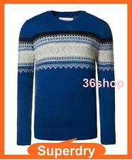 RRP £60 ~ New Mens Superdry Crew Neck Royal Blue Knit - M